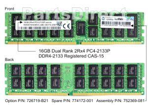 HPE 726719-B21 16GB (1X16GB) PC4-17000 DDR4-2133MHZ SDRAM - DUAL RANK X4 CL15 ECC REGISTERED 288-PIN RDIMM MEMORY MODULE FOR PROLIANT G9 SERVER
