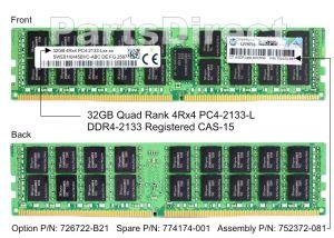 HP 726722-B21 32GB (1X32GB) PC4-17000 DDR4-2133MHZ SDRAM - QUAD RANK ECC REGISTERED LOAD REDUCED 288-PIN LRDIMM MEMORY MODULE FOR PROLIANT SERVER GEN9