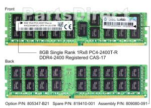 HPE 805347-B21 8GB (1X8GB) 2400MHZ PC4-19200 CAS-17 ECC REGISTERED SINGLE RANK X8 DDR4 SDRAM 288-PIN DIMM MEMORY MODULE FOR PROLIANT GEN9 SERVER