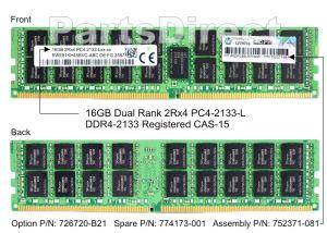 HP 726720-B21 16GB (1X16GB) PC4-17000 DDR4-2133MHZ SDRAM DUAL RANK CL15 ECC REGISTERED 288-PIN LRDIMM MEMORY MODULE