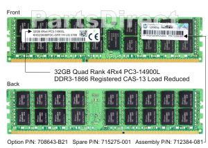 HP 708643-B21 32GB (1X32GB) 1866MHZ PC3-14900 CL13 ECC QUAD RANK 1.50V DDR3 SDRAM 240-PIN LOAD REDUCED DIMM GENUINE HP MEMORY FOR PROLIANT SERVER G8