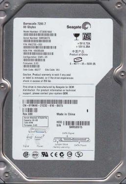ST380819AS SEAGATE ST380819AS BARRACUDA 80GB 7200RPM SATA-II 8MB BUFFER 3.5INCH INTERNAL HARD DISK DRIVE.